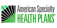 American Specialty insurance logo in a green and black color. These plans are accepted by Dr. Fish
