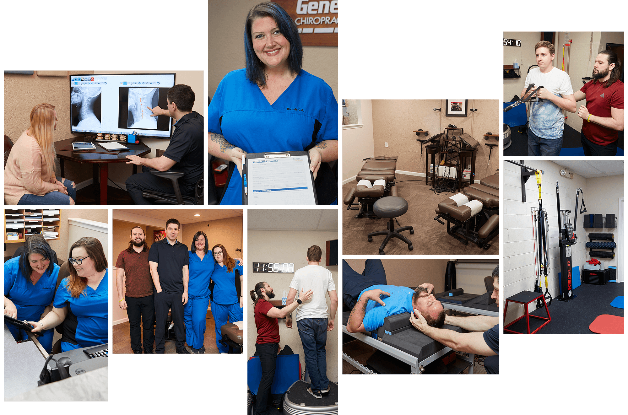 Collage of our Horsham & Warrington Chiropractic team with patients and caring for people in our office